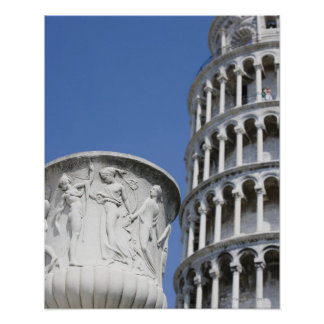 Large urn next to Leaning Tower of Pisa, Italy Poster