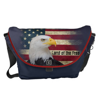 Large US Flag with Bald Eagle. Land of the Free Commuter Bags