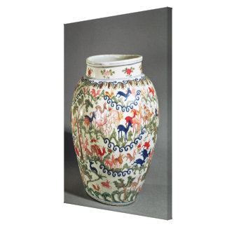 Large vase decorated with five colours canvas print