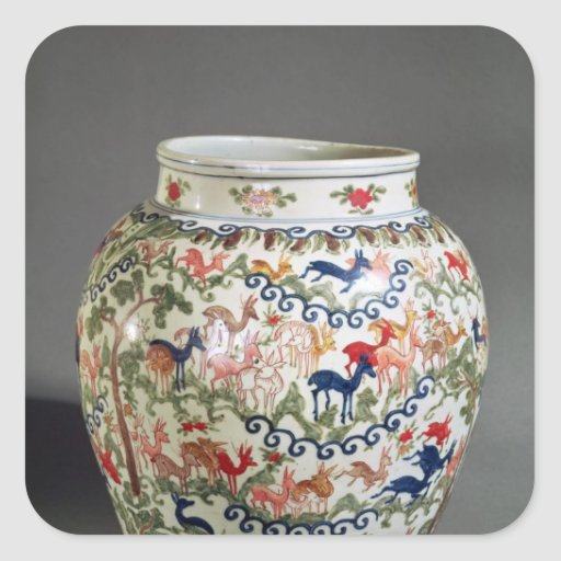 Large vase decorated with five colours stickers