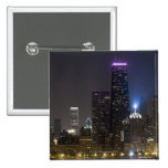 Large view of the northern Chicago skyline at 15 Cm Square Badge
