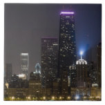 Large view of the northern Chicago skyline at Large Square Tile