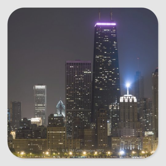 Large view of the northern Chicago skyline at Square Sticker