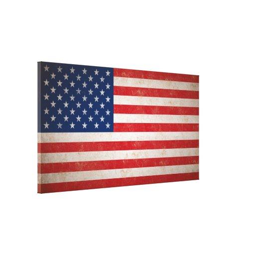 Large Vintage Grunge Style American Flag Canvas Canvas Print