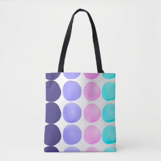 Large watercolor dots tote bag