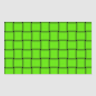 Large Weave - Bright Green Rectangular Sticker