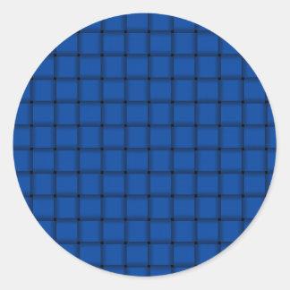 Large Weave - Cobalt Round Sticker