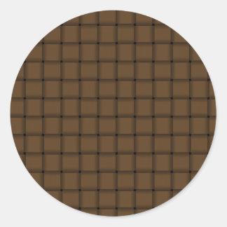 Large Weave - Dark Brown Round Sticker