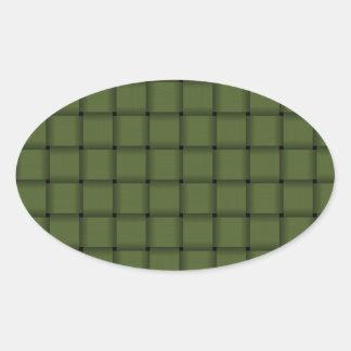 Large Weave - Dark Olive Green Oval Sticker