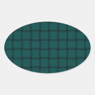 Large Weave - Deep Jungle Green Oval Sticker