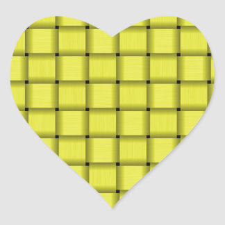 Large Weave - Electric Yellow Heart Sticker