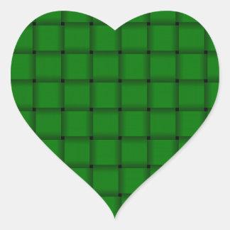 Large Weave - Green Heart Sticker