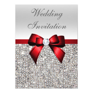 Large Wedding Faux Silver Sequins Red Bow 17 Cm X 22 Cm Invitation Card