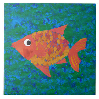 Large Whimsical Fish on Blue Green Background Tile