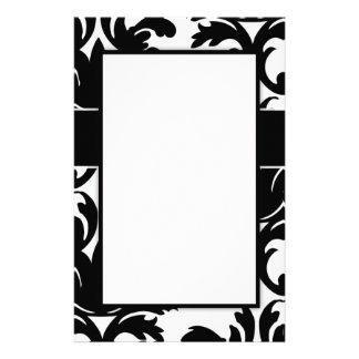 large white and black bold damask design stationery