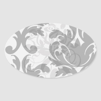large white and black bold damask oval stickers