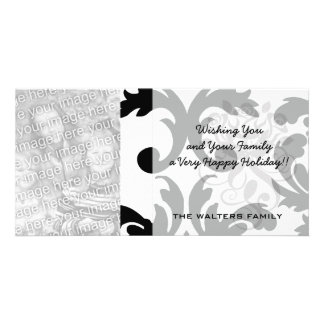 large white and black bold damask photo card template