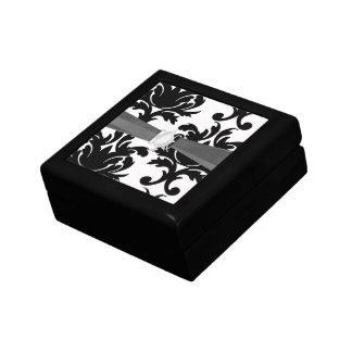 large white and black bold damask small square gift box