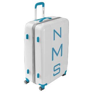 LARGE White + Blue Personalized Monogram Luggage