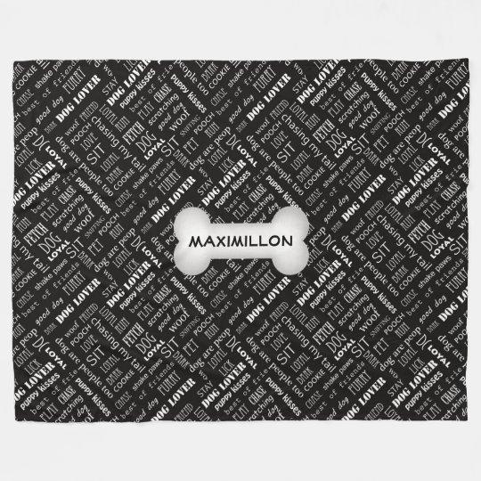 LARGE White Bone on Black Dog Lover Word Art Fleece Blanket