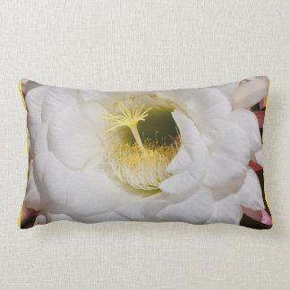 Large White Cactus Flower Throw Lumbar Pillow