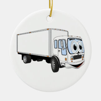 Large White Delivery Truck Cartoon Round Ceramic Decoration