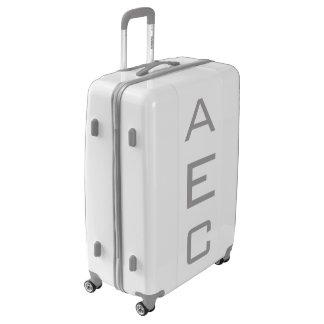 LARGE White + Gray Personalized Monogram Luggage