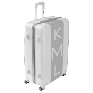 LARGE White + Light Gray Monogrammed Luggage
