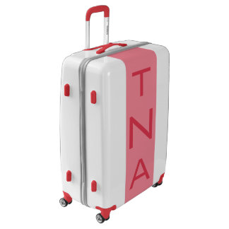LARGE White + Light Red Monogrammed Luggage