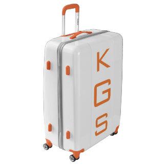 LARGE White + Orange Personalized Monogram Luggage