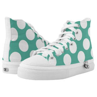 Large white polka dots circles on green printed shoes