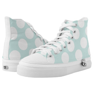 Large white polka dots circles on light blue printed shoes
