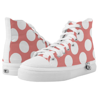 Large white polka dots circles on pink printed shoes