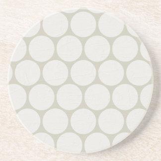 Large White Polka Dots Cream Beverage Coasters