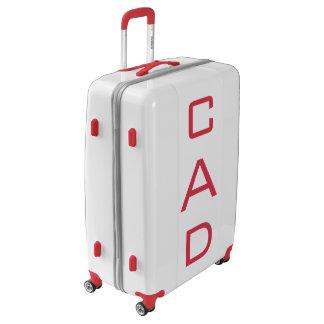 LARGE White + Red Personalized Monogram Luggage