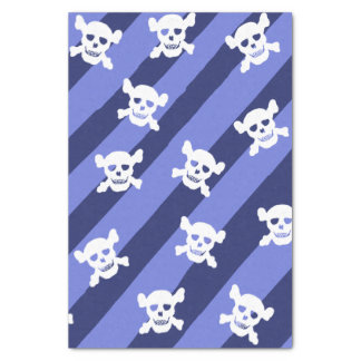 Large White Skull and Crossbones on Blue Stripes Tissue Paper