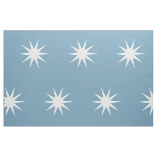 Large White Starbursts on Carolina Blue Fabric