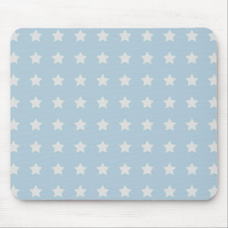 Large White Stars on Powder Blue Background Mouse Mat