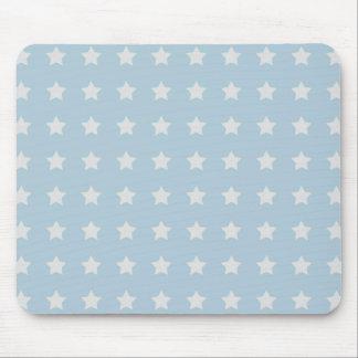 Large White Stars on Powder Blue Background Mouse Mat