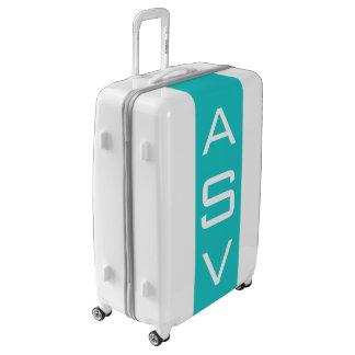 LARGE White + Turquoise Monogrammed Luggage