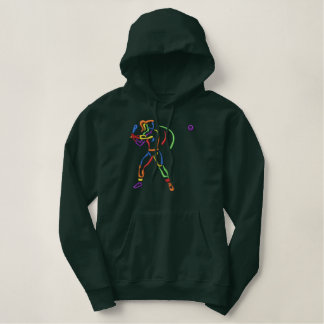 Large Women's Softball Embroidered Hoodie
