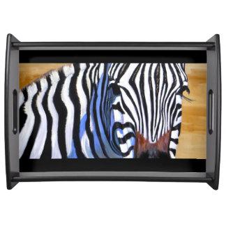 Large Wooden Zebra Serving Tray