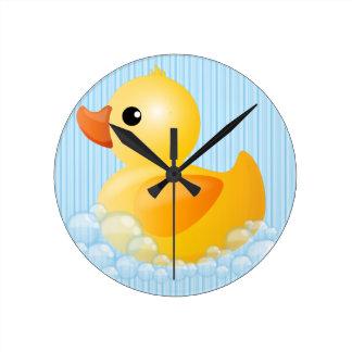 Large Yellow Duck Round Clock