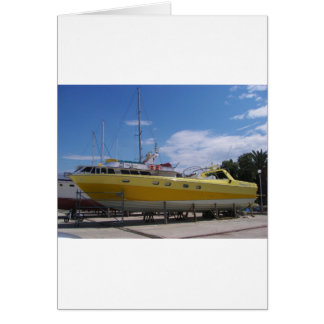 Large Yellow Powerboat Card