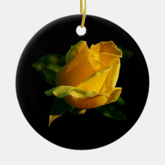 Large Yellow Rose Round Ceramic Decoration