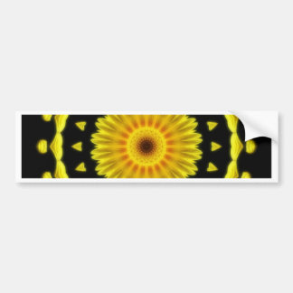 Large Yellow Wildflower Kaleidoscope Art 2 Bumper Sticker