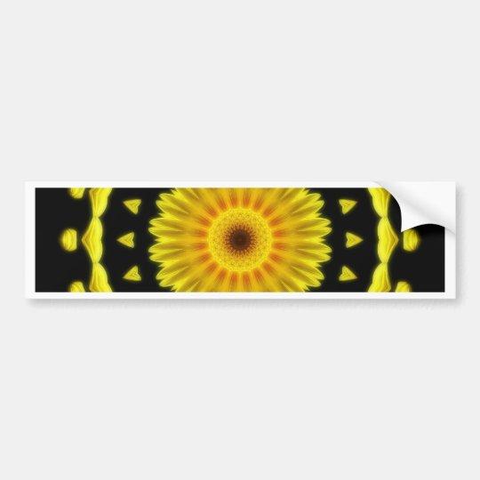 Large Yellow Wildflower Kaleidoscope Art 2 Bumper Sticker