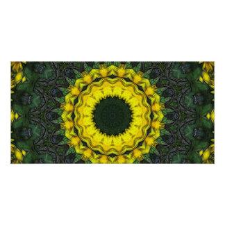 Large Yellow Wildflower Kaleidoscope Art 8 Photo Greeting Card