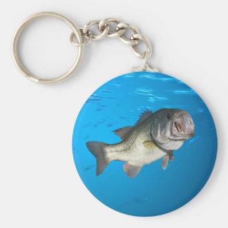 Largemouth bass basic round button key ring