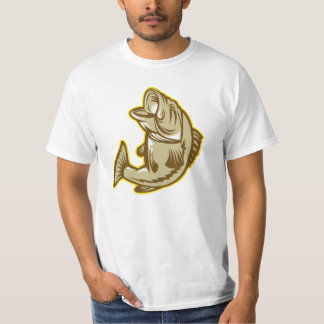 Largemouth Bass Fish Jumping Retro T-Shirt